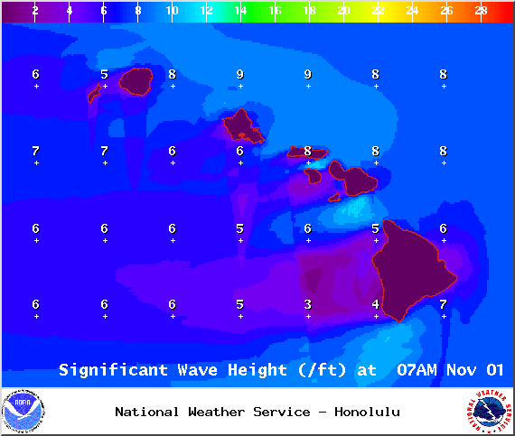 Swell height on Saturday Nov. 1, 2014 / Image: NOAA / NWS