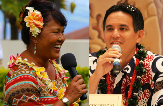 Elle Cochran (left) and Kaʻala Buenconsejo (right) , are among the candidates featured in the West Maui Taxpayers Association Candidate Forum. File photos by Wendy Osher.