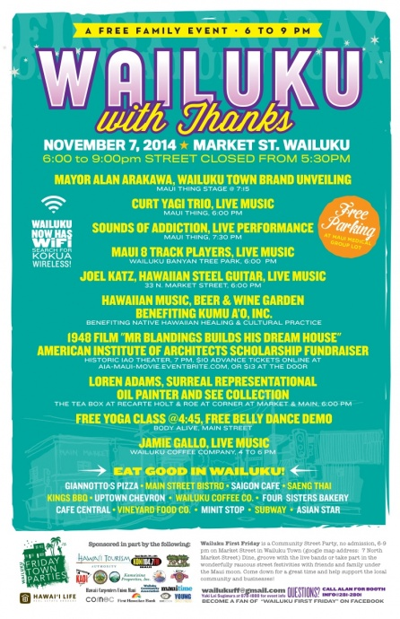 Wailuku First Friday event poster, Nov. 7, 2014.