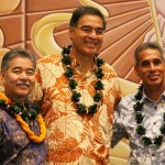 Gubernatorial candidates (l to r) David Ige (D), Mufi Hannemann (I), and Duke Aiona (R).  Photo by Wendy Osher.