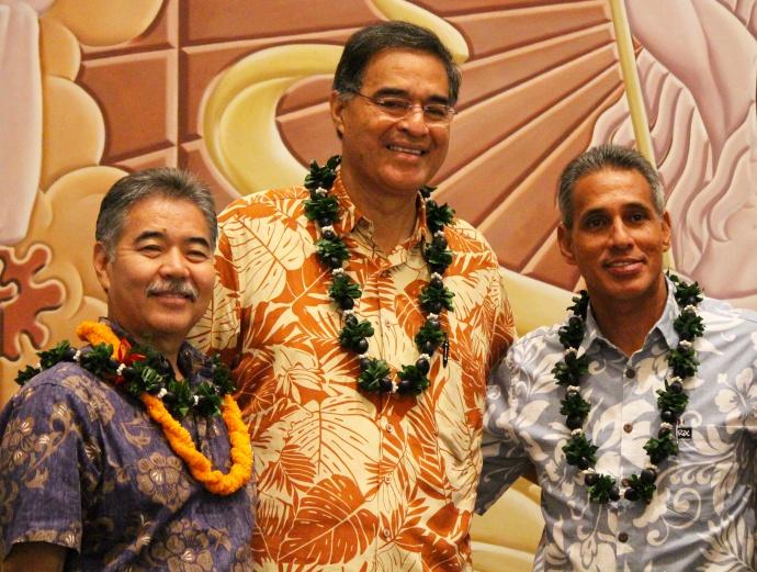 Gubernatorial candidates (l to r) David Ige (D), Mufi Hannemann (I), and Duke Aiona (R).  Photo by Wendy Osher.
