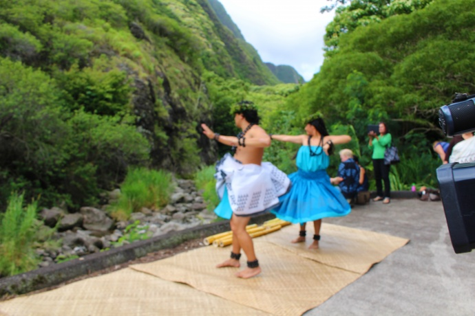 A hula was performed at the river edge as water was restored at ʻĪao. Photo by Wendy Osher.