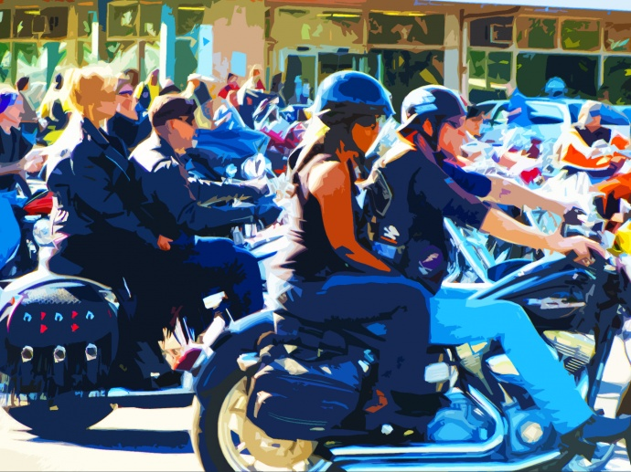 Motorcycle helmet, photo/graphic by Wendy Osher.
