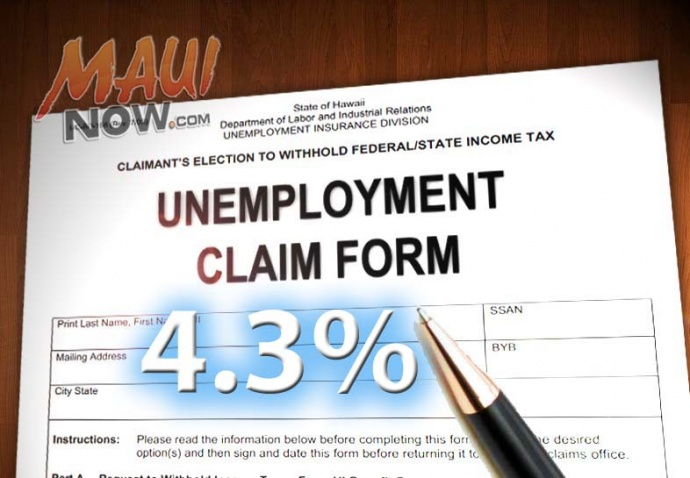 Maui County's unemployment rate increased slightly to 4.3% in September. Maui Now graphic by Wendy Osher.
