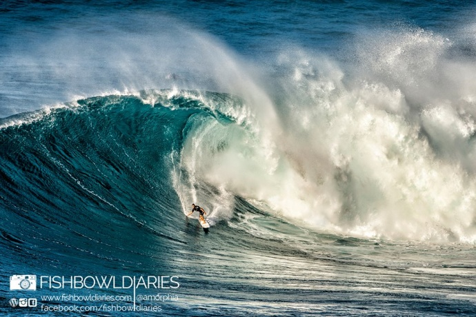 Nakoa Decoite surfing Pe'ahi Jaws 11/11/14 - Image: Fish Bowl Diaries