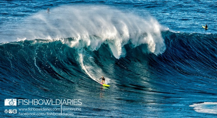 Paige Alms surfing Pe'ahi Jaws 11/11/14 - Image: Fish Bowl Diaries