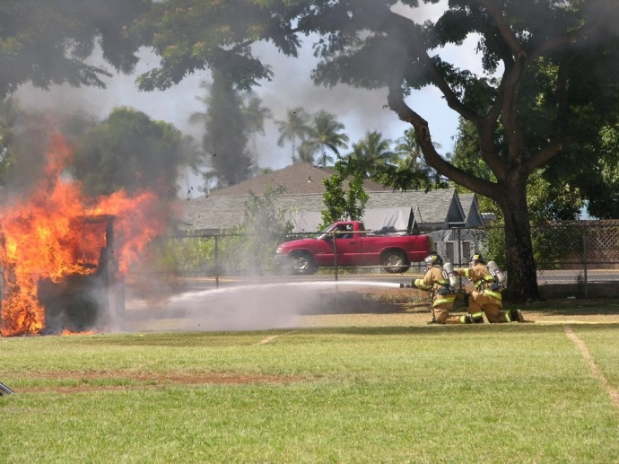 Live burn demonstration by the Department of Fire and Public Safety. Photo courtesy County of Maui.