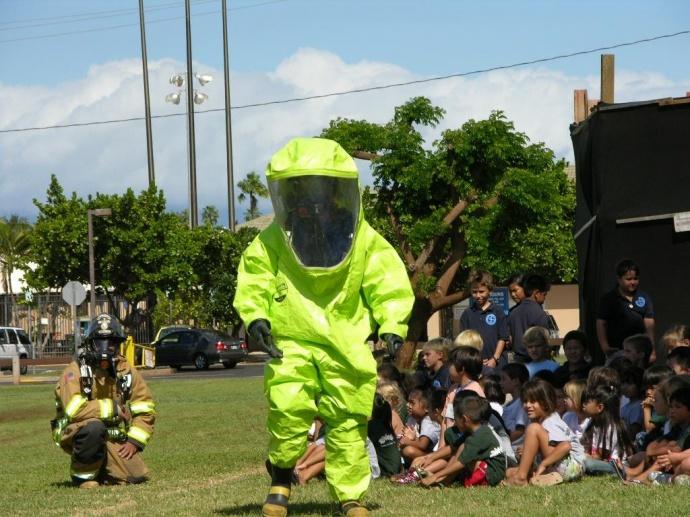 Fire safety demonstration of Hazmat operations. Photo courtesy County of Maui.