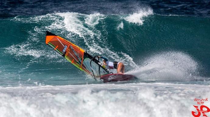Sarah Hauser wind surfing / Image: Jimmie Hepp