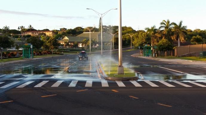 Sprinklers at Maui Lani. Photo courtesy County of Maui.