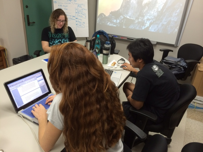 ABIT students preparing for Thursday's event. Left to Right: Michelle Heller, Angela Thielk, Jeremy Bac. Courtesy photo.