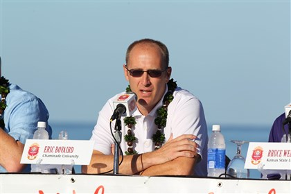 Chaminade Silverswords coach Eric Bovaird attends a news conference for the 2014 EA Sports Maui Invitational Sunday at the Sheraton Maui Resort in Lahaina. Photo by Brian Spurlock/USA TODAY Sports.