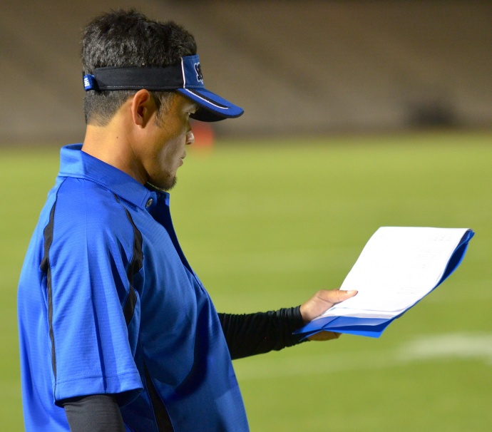 Maui High School head coach David Bui likes his team's chances against Farrington today. He is pictured here on the sidelines at War Memorial Stadium during an MIL game earlier this year. File photo by Rodney S. Yap.
