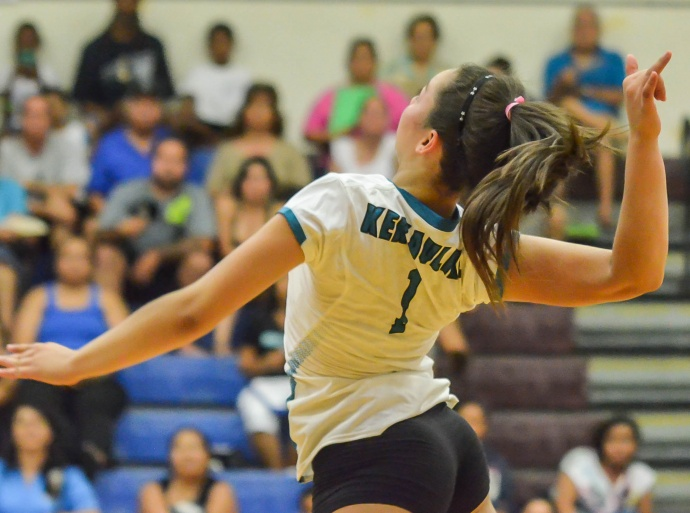 King Kekaulike's junior outside-hitter Treyanna-Lee Freitas finished with 10 kills against Kapolei on Saturday. She is shown here in this file photo earlier this season against Baldwin. Photo by Rodney S. Yap.