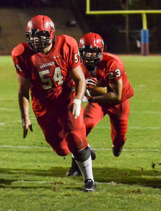 Lahainaluna's offense will be led by veterans Connor Mowat (54) and Jared Rocha-Islas. Photo by Rodney S. yap.
