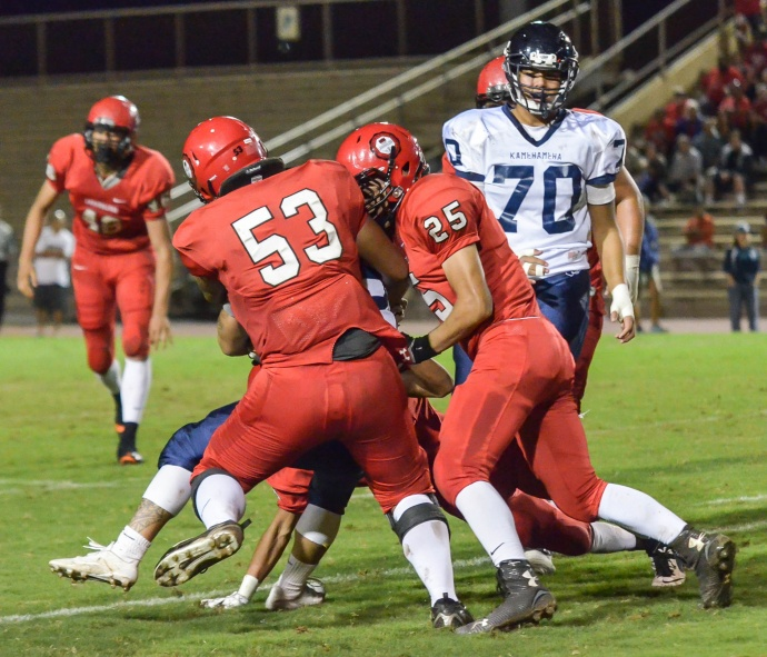 Lahainaluna's defense will have to have a big game Friday if the Lunas are going to beat Iolani. Here the defense is being led by Brandon Kaina (53) and Scott Isaac Medeiros-Tangatailoa (25) against Kamehameha Hawaii last week. Photo by Rodney S. Yap.