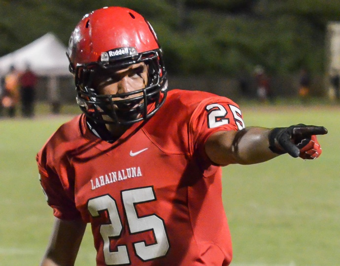 Scott Isaac Medeiros-Tangatailoa is one of four four-year varsity players on the Lahainaluna roster. File photo by Rodney S. Yap.