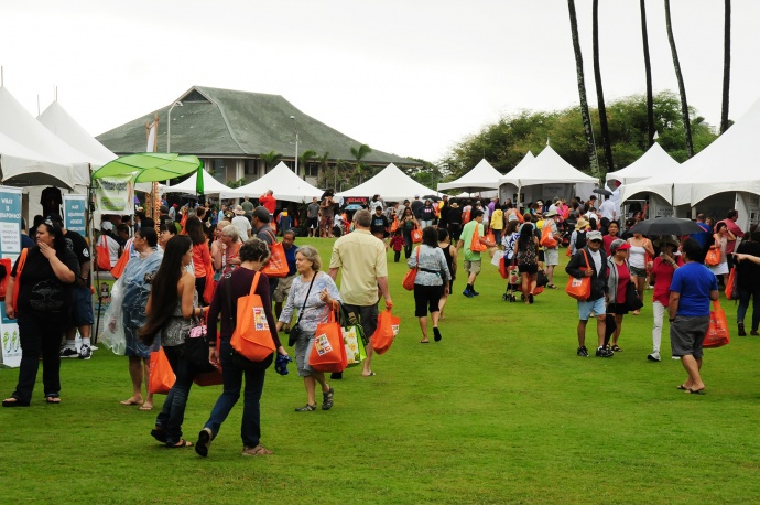 Despite the steady rain, the first-ever Made in Maui County Festival drew over 9,000 residents and visitors to the Maui Arts & Cultural Center for a full day of shopping.