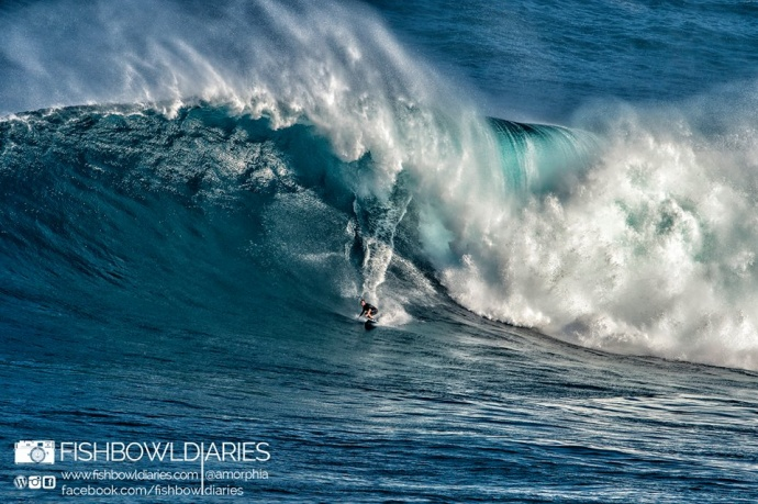 Grant Twiggy Baker surfing Jaws - Image: Davin Phelps
