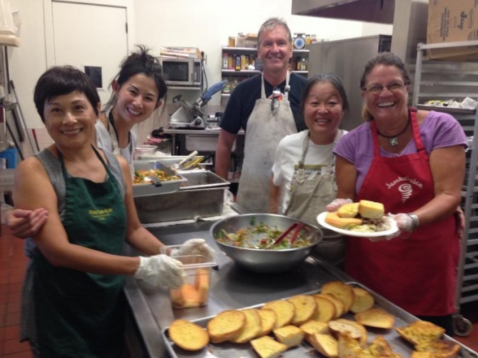 Volunteers enjoy feeding the hungry a delicious meal every night of the year at Hale Kau Kau on site at St. Theresa Church, Kihei.  Courtesy photo.