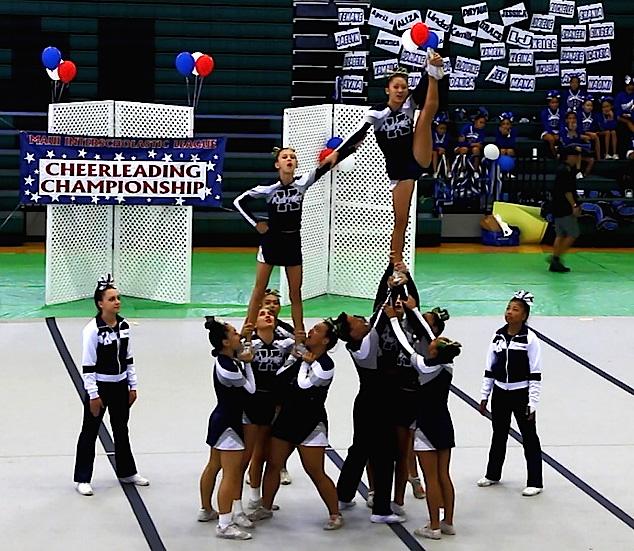 Four-time MIL varsity champion Kamehameha Maui performs a Heel Stretch Pyramid at the MIL Cheer Championships last Saturday at King Kekaulike High School. Photo courtesy of Lokelani Patrick.
