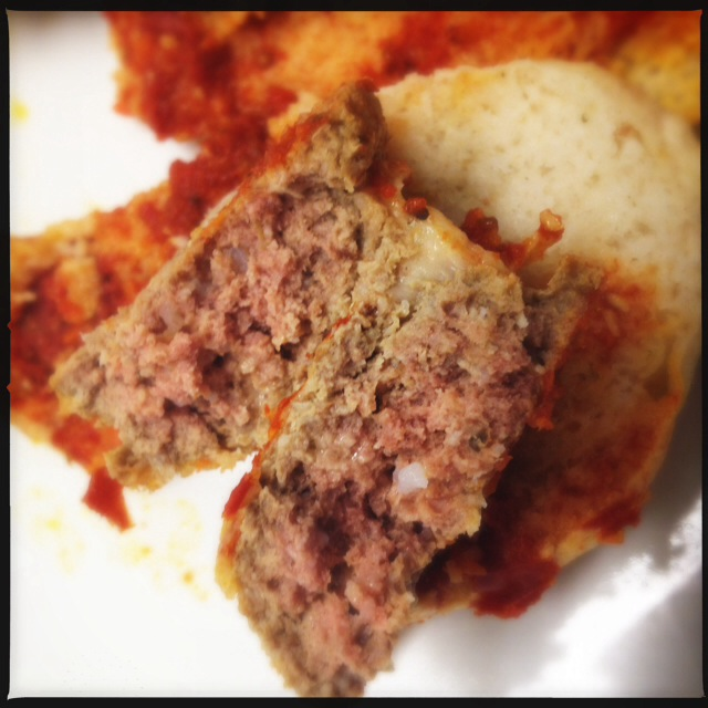 Signs indicate this is an all-beef meatball. Photo by Vanessa Wolf