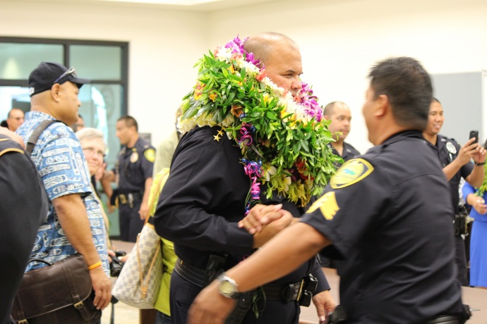 Maui Police Department Swearing-in Ceremonies for Chief Tivoli Taaumu and Deputy Chief Dean Rickard. Photos by Wendy Osher.