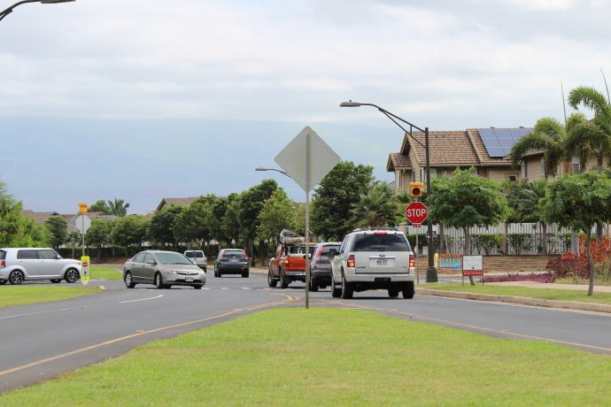 Maui Lani Parkway intersection in Kahului.  Photo by Wendy Osher.