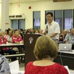HHSC Maui District executive Wesley Lo testifies before the legislative hearing on the state's public health system budget shortfalls.  Photo 11/10/14 by Wendy Osher.