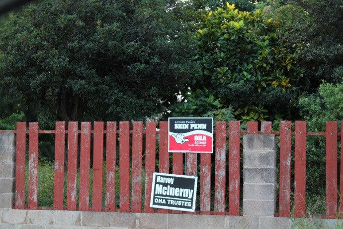 Campaign signs in Kahului, 11/24/14. Maui Now photo.