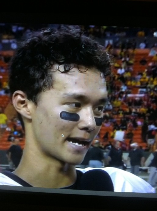 """Iolani quarterback Austin Jim On talks with OC16 after being named the team's """"Impact Player of the Game."""" Photo courtesy of OC16."""