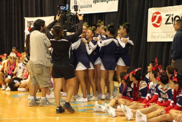 Kamehameha Schools Maui varsity cheerleaders celebrate their second straight HHSAA Cheer Championship Saturday at the Neal Blaisdell Arena. Photo courtesy of Lokelani Patrick.