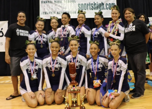 The medium division state championship cheerleaders from Kamehameha Schools Maui pose with their gold medals Saturday at the Neal Blaisdell Arena on Oahu. From bottom left, Ashlee Sawai, Kayla Sniffen, Hannah Patrick, Acacia Coloma-Mariano and Chloe Lawrence. From top left, coach Kealii Molina, Kawai DeVault, Hunter Logan Chaston Abut, Halia Kekuewa, Jessica Walker, Rachel Kaulupali and coach Ann Saffery. Photo courtesy of KSM cheerleaders.