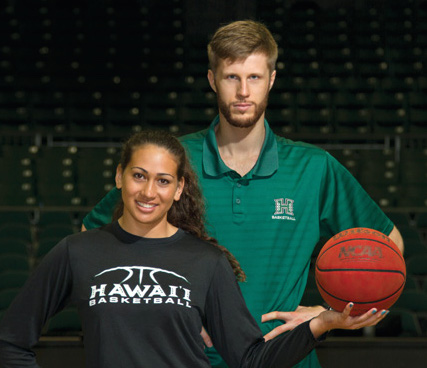 """Kalei Adolpho and Davis Rozitis, a political science major from Cesis, were photographed as a part of the University of Hawaii Foundation """"Gift Impact"""" that ensures student-athletes like Kalei and Davis have the opportunity to receive a quality education, fulfill their potential and become leaders of tomorrow."""