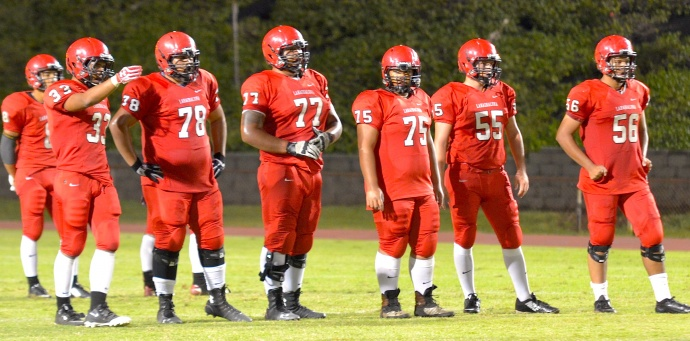 The Lunas and their impressive linemen are ready for visiting Kamehameha Hawaii in today's Division II state semifinal game at War Memorial Stadium. Photo by Rodney S. Yap.