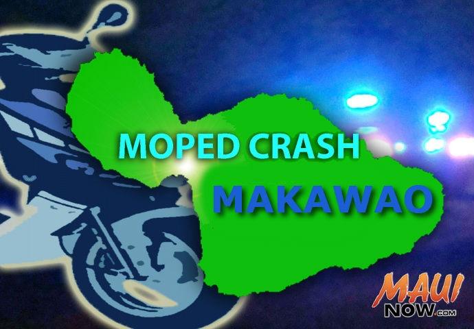 Moped crash, Makawao. Graphics by Wendy Osher/Maui Now.