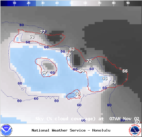 Chance of cloud cover in Maui County at 7am on Sunday Nov. 2, 2014 / Image: NOAA / NWS