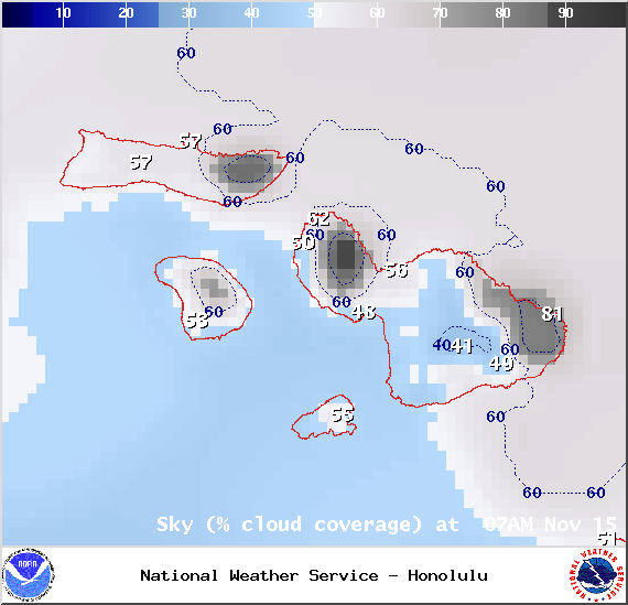 Chance of cloud cover at 7am - Image: NOAA / NWS