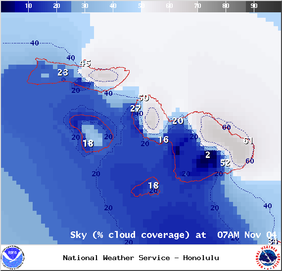 Expected chance of cloud cover at 7am in Maui County on Tuesday Nov. 4, 2014 / Image: NOAA / NWS