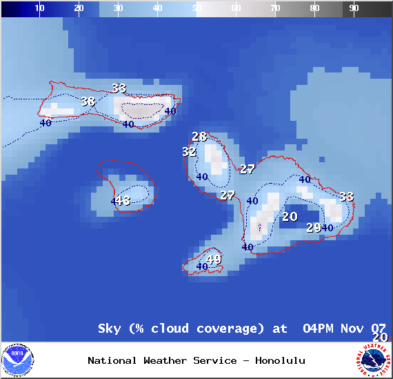 Chance of cloud cover at 4pm - Image: NOAA / NWS