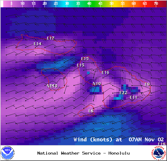 Wind conditions in Maui County at 7am on Sunday Nov. 2, 2014 / Image: NOAA / NWS