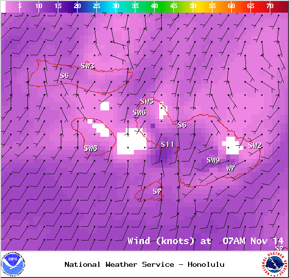 Winds at 7am - Image: NOAA / NWS