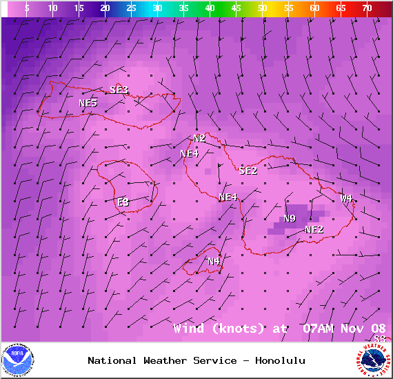Wind conditions at 7am - Image: NOAA / NWS