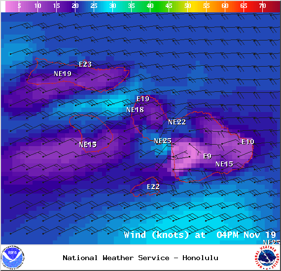 Wind Conditions at 4pm - Image: NOAA / NWS