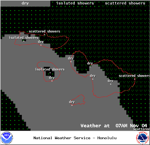Expected weather conditions at 7am in Maui County on Tuesday Nov. 4, 2014 / Image: NOAA / NWS