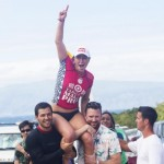Hawaii's Carissa Moore gets a victory ride to the stage from family and friends after winning the Target Maui Pro at Honolua Bay on Thanksgiving day. Photo by ASP Kirstin Scholtz.