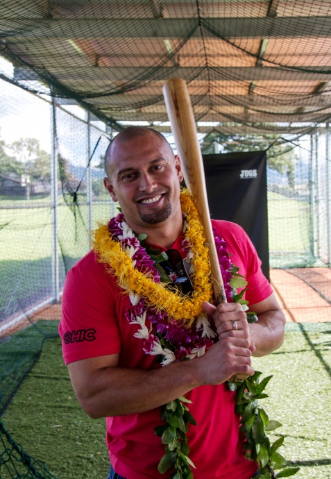Shane Victorino at Waipio Batting Cages, Courtesy photo by Johnelle Souza.