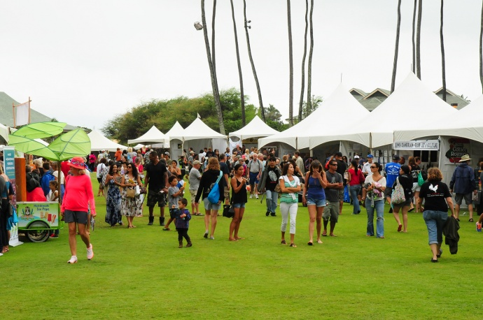 Despite the steady rain, the first-ever Made in Maui County Festival (2014) drew over 9,000 residents and visitors to the Maui Arts & Cultural Center for a full day of shopping.