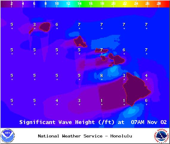 Surf heights on Sunday Nov. 2, 2014 / Image: NOAA / NWS