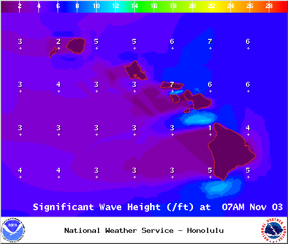 Surf heights at 7am on Monday Nov. 3, 2014 / Image: NOAA / NWS